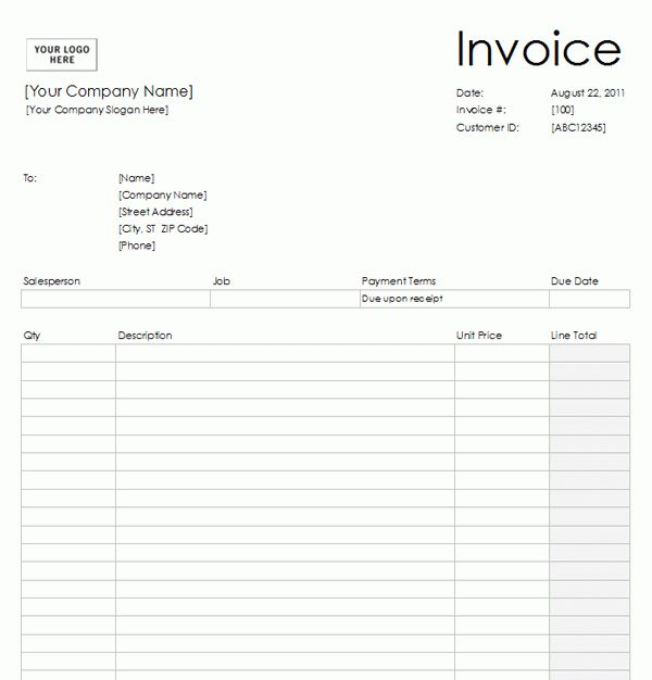 Blank Invoice Template #2