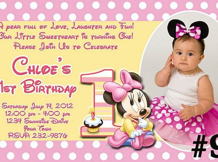 Minnie Mouse First Birthday Invitations | badbrya.com