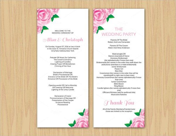 17+ Wedding Program Template | Free & Premium Templates