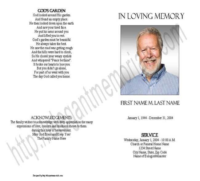 Blank Funeral Program Template | Memorial