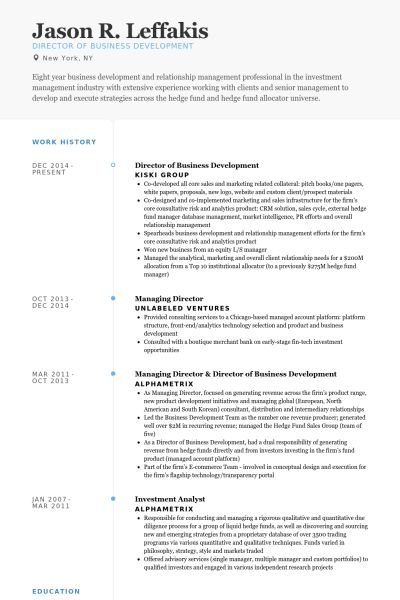 Director Of Business Development Resume samples - VisualCV resume ...