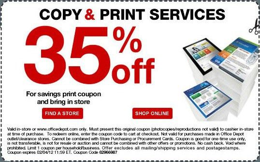 35% off Copy & Print Services Printable Coupon at Office Depot ...