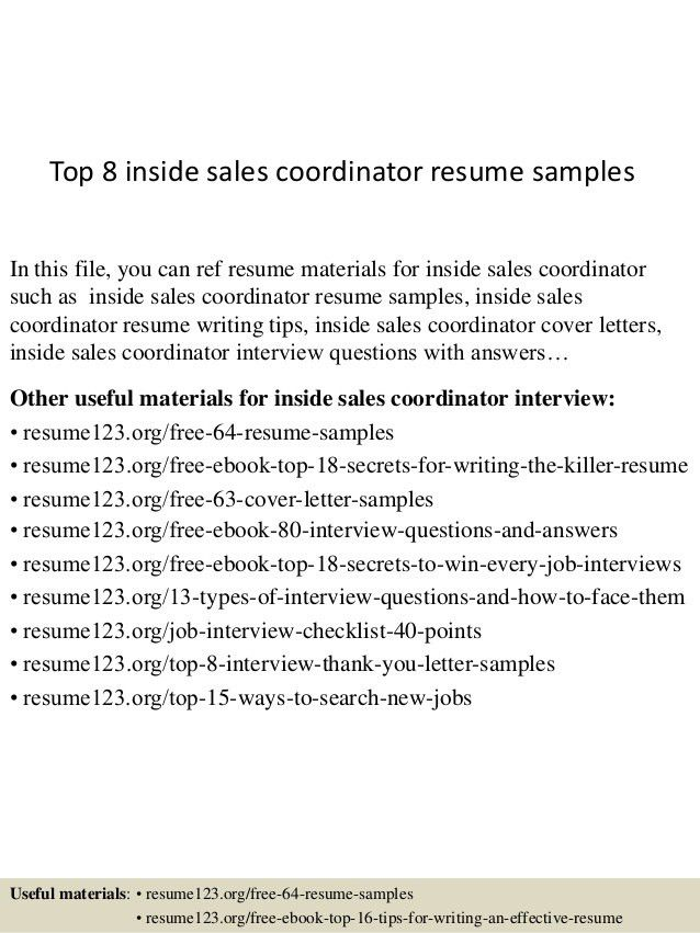 inside sales resumes - Template