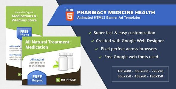 Pharmacy Medicine Health - HTML5 Banner Ad Templates by InfiniWeb ...