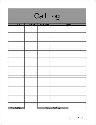 Call Log Template Pdf. Log Sheet Templates Phone Call Log Template ...