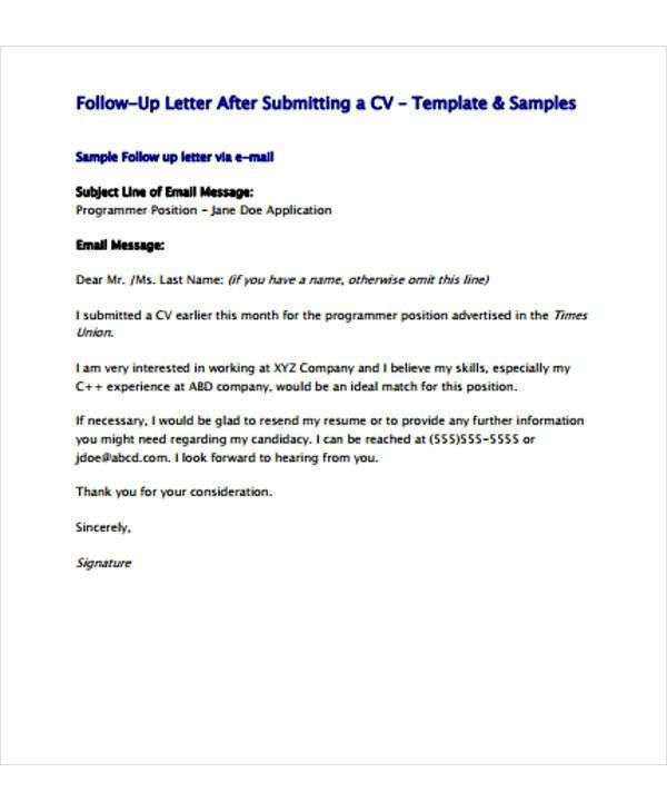 Follow Up Letter Templates - 6+ Free Sample, Example Format ...