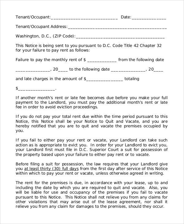Sample of 30 Day Eviction Notice - 7+ Examples in Word, PDF