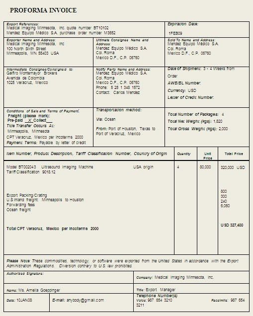 Proforma Invoice Template Sample Format Example | Places To Visit ...