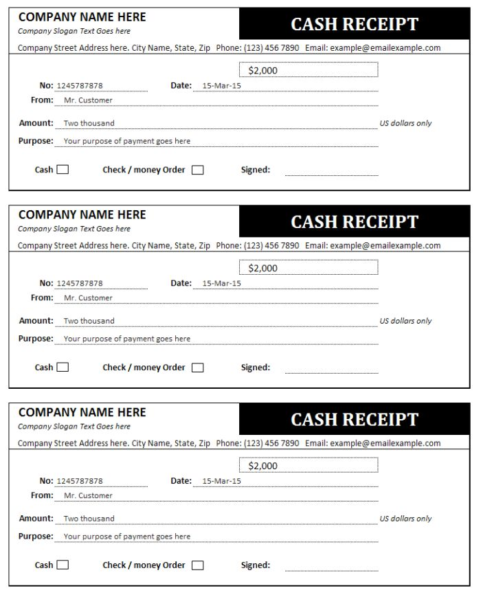 Triple Receipt Form Example For Cash Payment Receipt : Vatansun