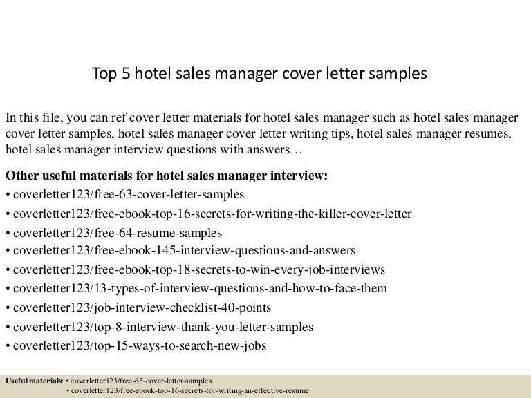 Top5hotelsalesmanagercoverlettersamples 150622094555 Lva1 App6892 Thumbnail 4?cbu003d  Hotel Sales Manager Resume