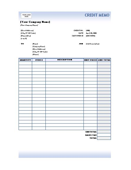 Credit memo (Blue Gradient design) - Office Templates