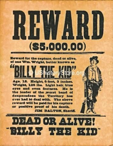 Billy the Kid $5,000 Reward Wanted Poster – store.ushistory.org