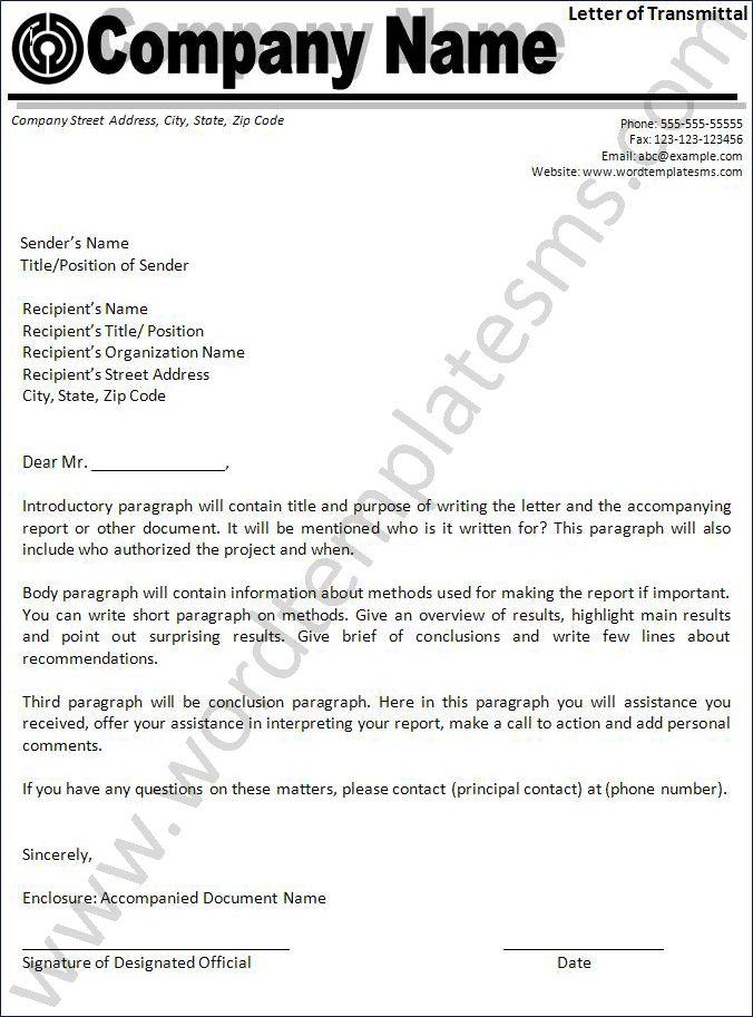 Letter of Transmittal Download Page | Word Excel Formats