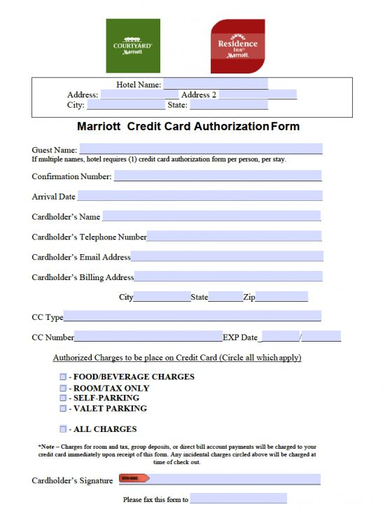 Free Marriott Credit Card Authorization Form - PDF