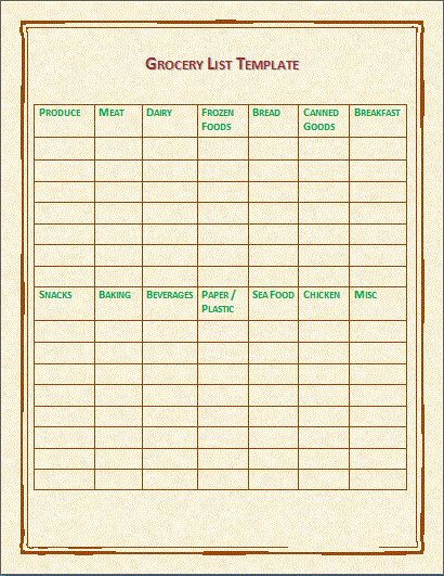 Triple Grocery List Template Free For Microsoft Word Format : Vlcpeque