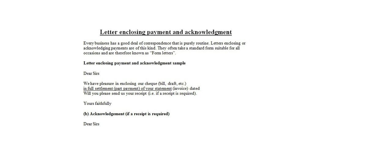 Letter enclosing payment | business letter examples