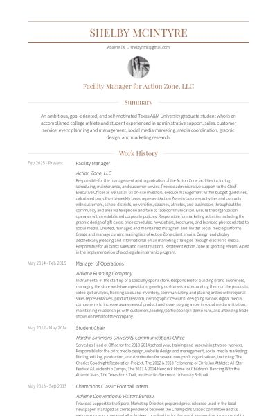 Facility Manager Resume samples - VisualCV resume samples database