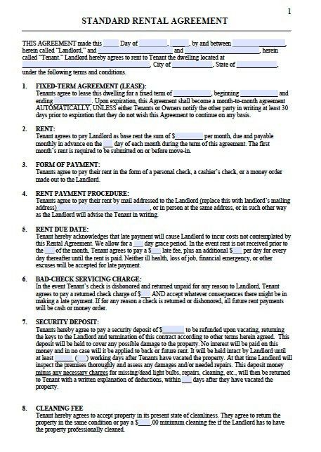 Excellent Standard Rental Agreement Template Sample with Editable ...