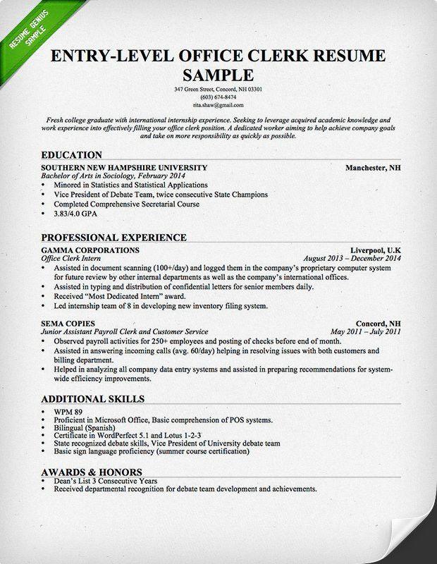 Entry-Level Office Clerk Resume Samples : Vinodomia