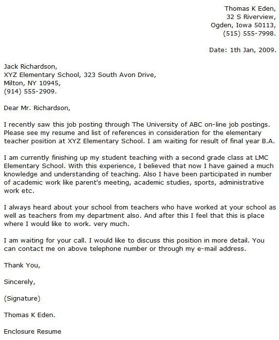 Education Job Sample Cover Letter within Cover Letter Examples For ...