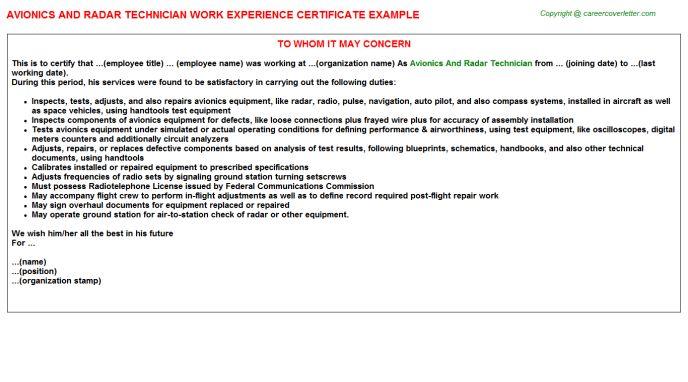 Avionics And Radar Technician Work Experience Certificate