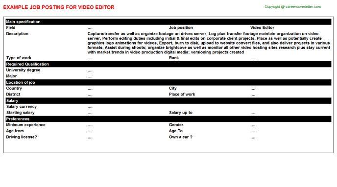 Video Editor Job Title Docs