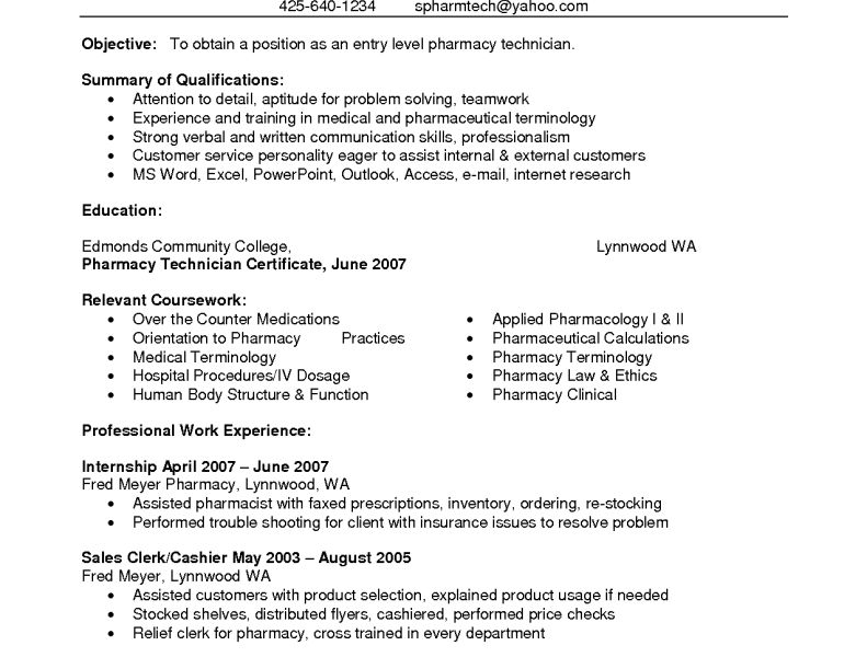 Pharmacy Technician Resume Sample - CV Resume Ideas