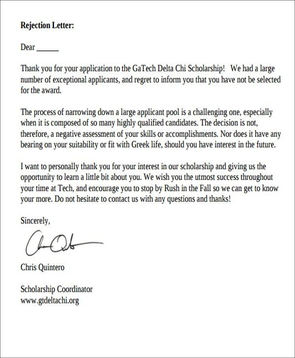 8+ Scholarship Rejection Letter - Free Sample, Example format ...