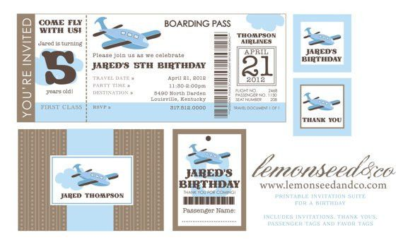 Items similar to Printable DIY Airplane Birthday Invitation ...