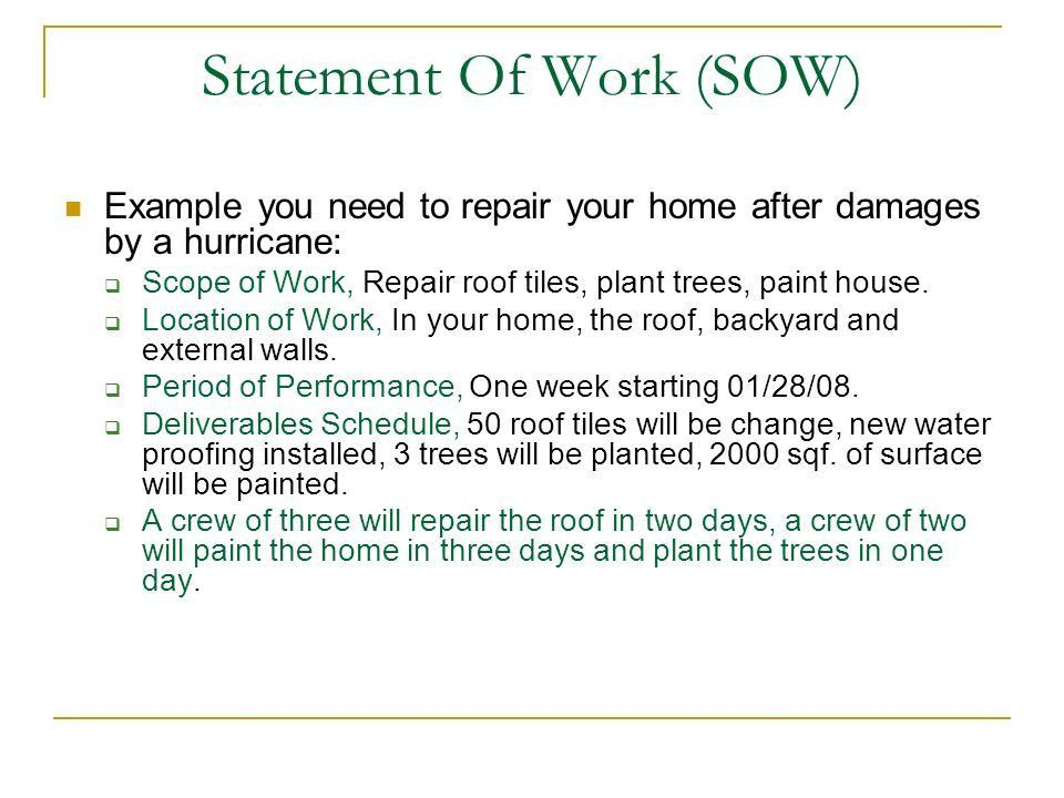 Statement of the Work SOW - ppt download