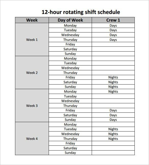 12 Hour Shift Schedule Template – 7+ Free Word, Excel, PDF Format ...