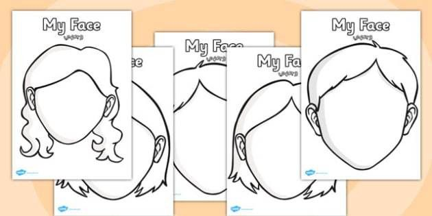 Blank Face Templates with Face Features Arabic Translation