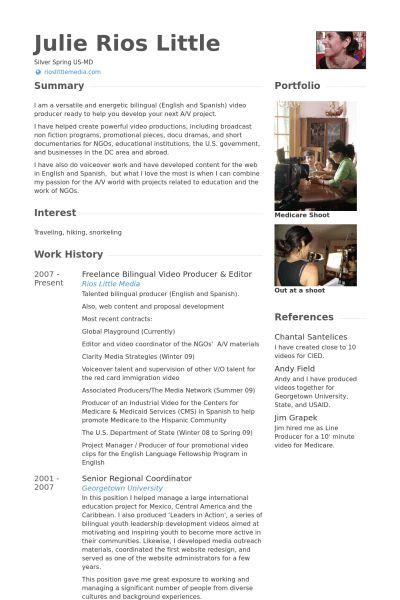 Video Producer Resume samples - VisualCV resume samples database