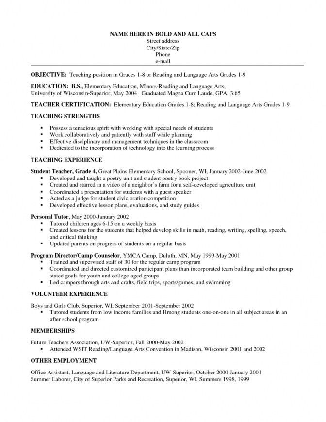 Reading Teacher Resume Sample. elementary school and kindergarten ...