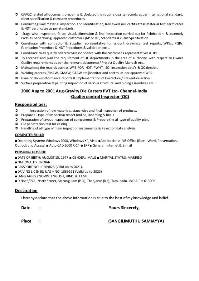 Cv of qaqc, inspection engineer, welding, painting & coating inspecto…