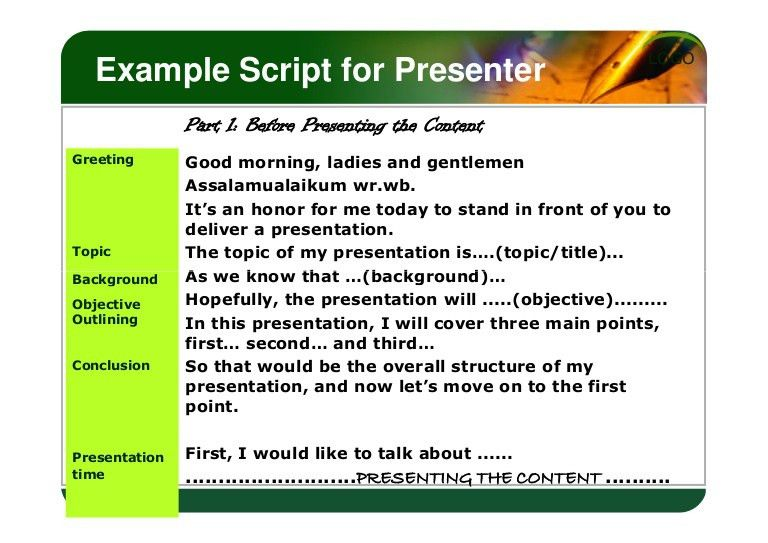 Example script for presenter