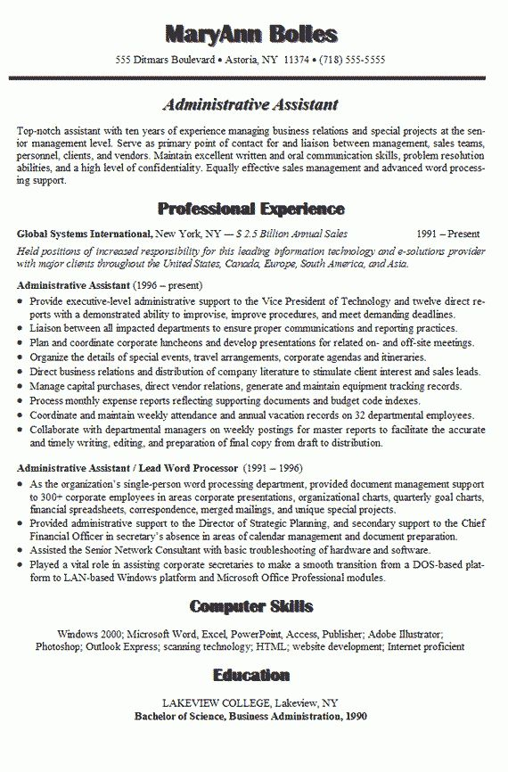 Resume objective examples entry level administrative assistant