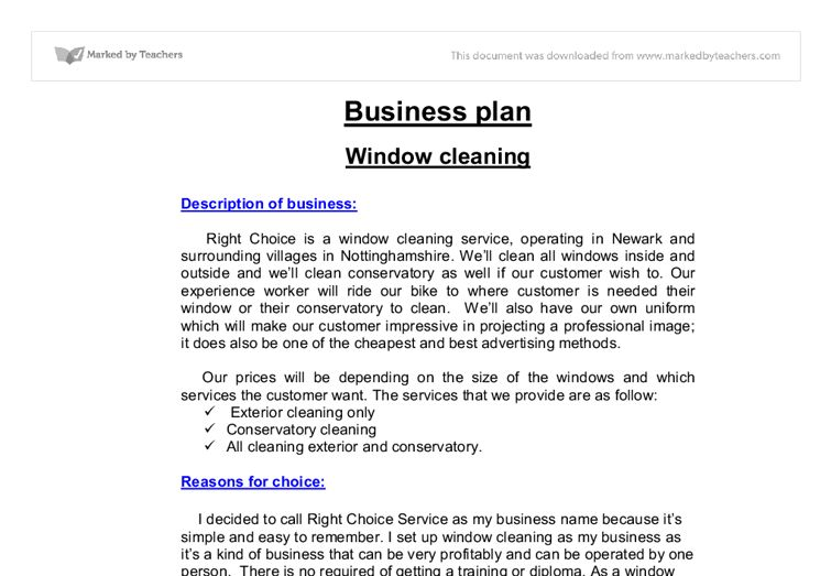 Business Plan window cleaning - A-Level Business Studies - Marked ...