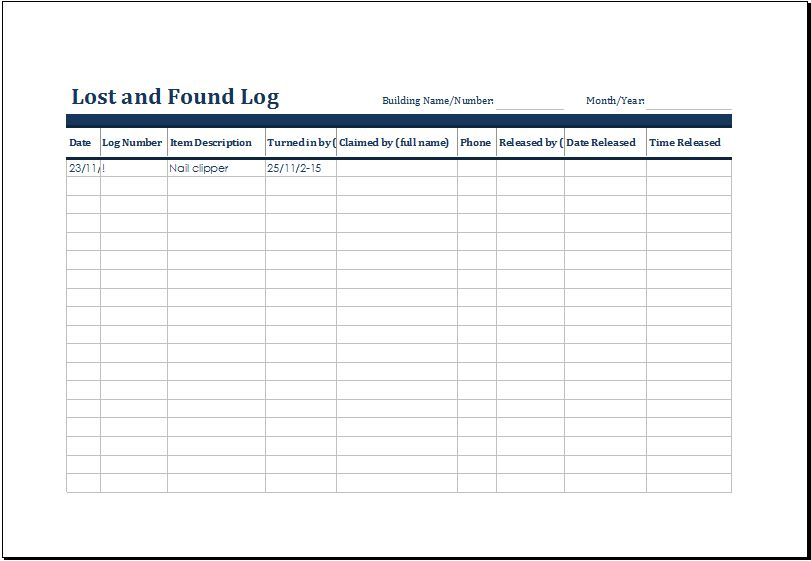 Lost and Found Log Template for MS Excel | Excel Templates