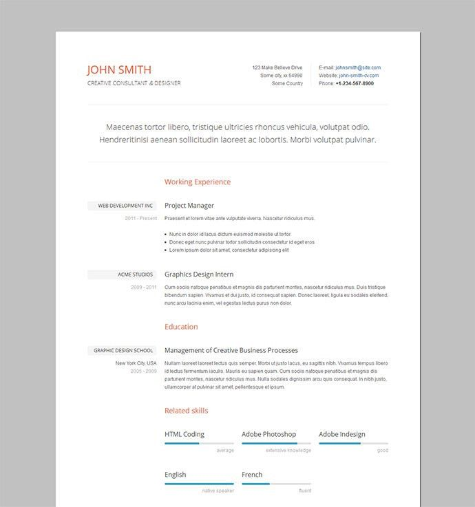 Chic Idea Html Resume Template 10 20 Best Free HTML Templates By ...