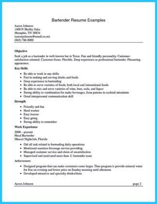 Bartender Resume Examples. 21 Best Samples Of Resume For Bartender ...