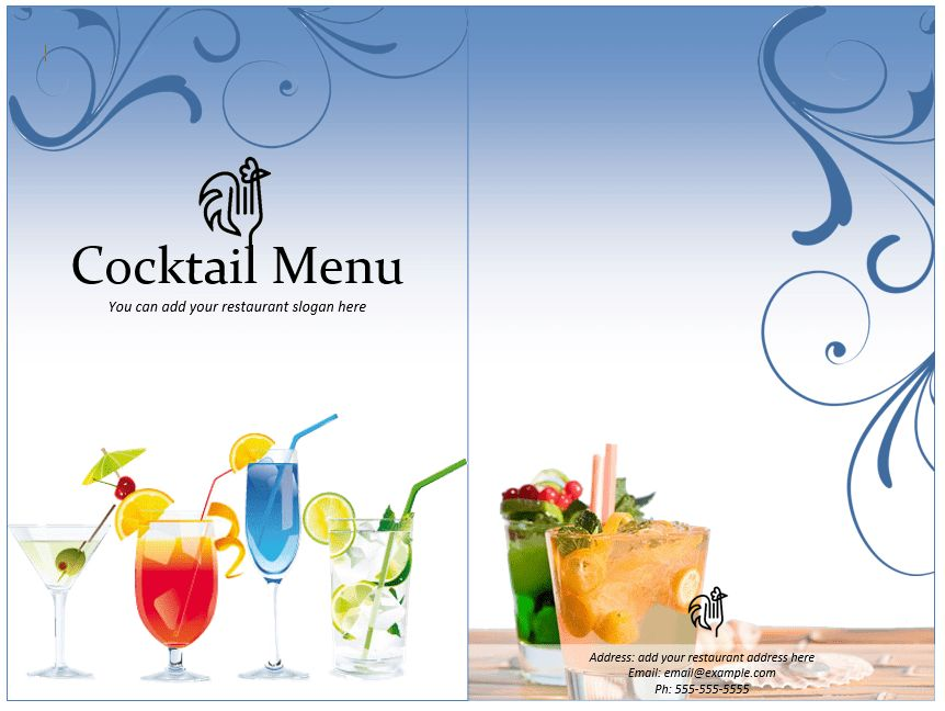 free bar drink menu templates | Professional Templates