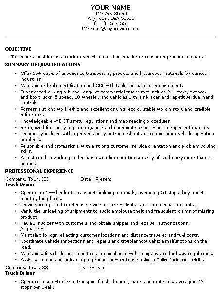 Best Resume Sample for Applying Truck Driver Position with ...