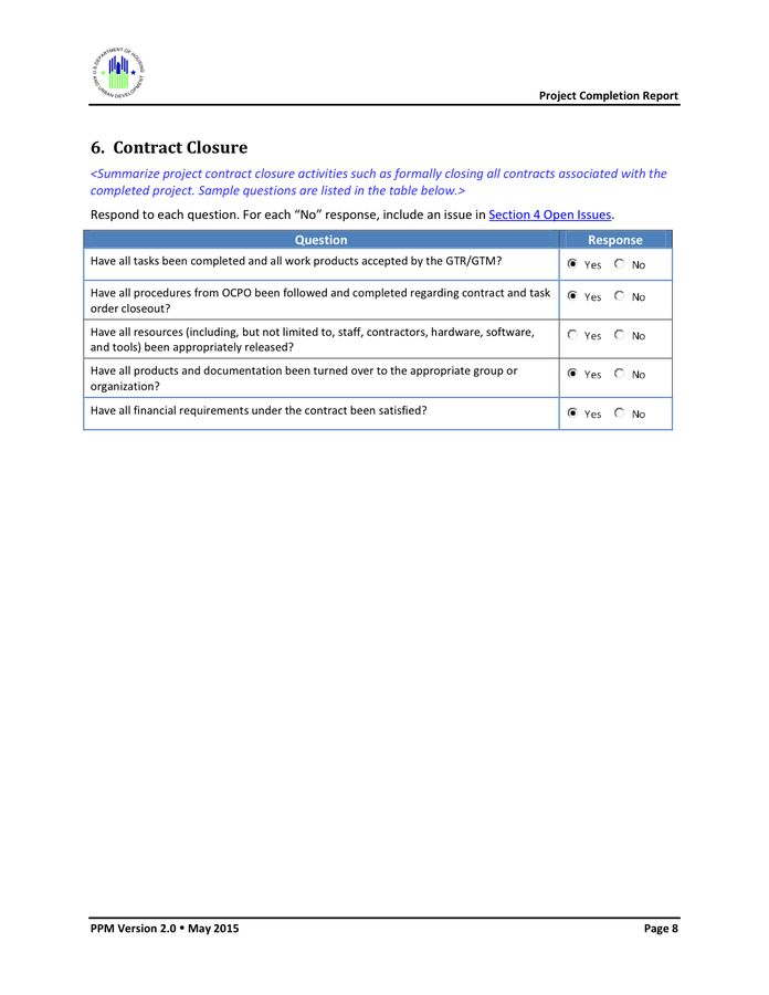 Project Completion Report Template in Word and Pdf formats - page ...