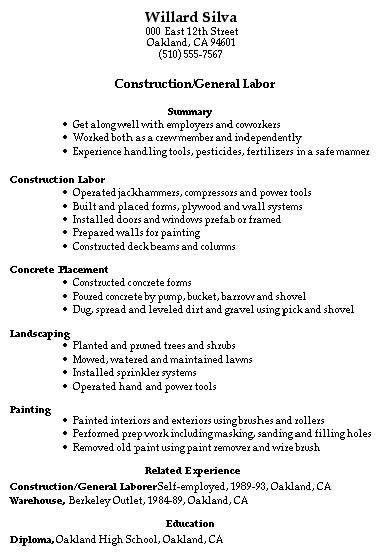 Construction Worker Resume. Construction Worker Resume ...