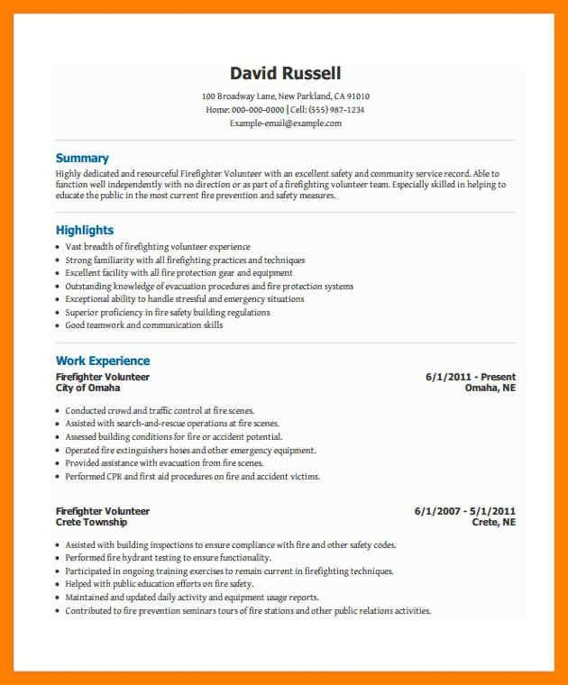 Firefighter Resume Examples. unthinkable firefighter resume ...