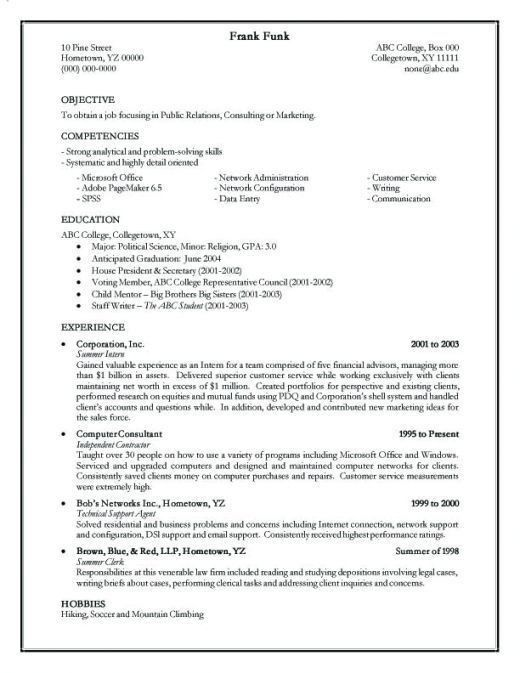 Phenomenal Effective Resumes 5 Sample Of An Template - Resume Example