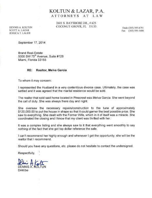 Attorney Recommendation/Letter of Gratitutde | Melva Garcia ...