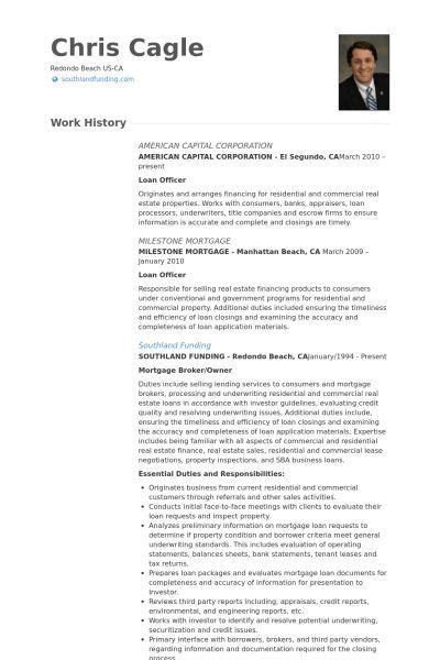 Loan Officer Resume samples - VisualCV resume samples database