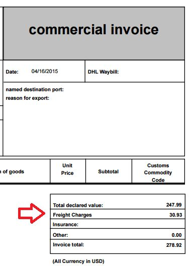 Freight charges and commercial invoices – Shippo